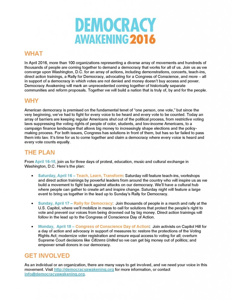 Democracy Awakening Fact Sheet