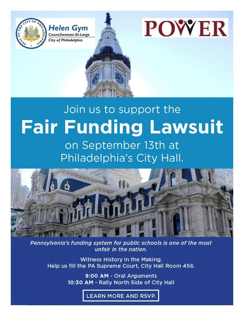 School Funding Lawsuit Oral Argument Rally Flyer